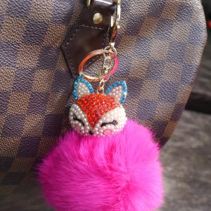 Real Fur Ball Bling Fox Head Keychain Bag Charm – Barbie Pink
