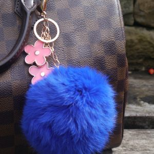 Real Fur Ball Flowers Keychain Bag Charm – Blue