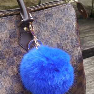 Real Fur Ball Keyring Bag Charm – Blue