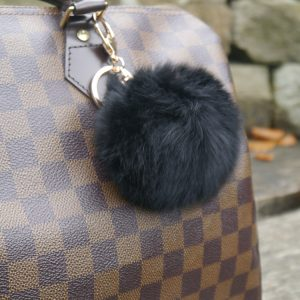 Real Fur Ball Keyring Bag Charm – Black