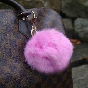 Real Fur Ball Keyring Bag Charm – Pink