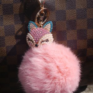 Real Fur Ball Bling Fox Head Keychain Bag Charm – Pink