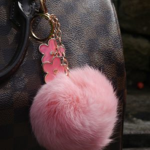 Real Fur Ball Flowers Keychain Bag Charm – Pink
