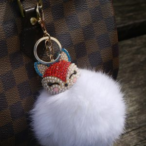 Real Fur Ball Bling Fox Head Keychain Bag Charm – White
