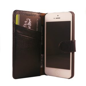 Flip Wallet Genuine Yak Leather Case Cover For iPhone  5/5s – Black