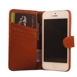 Flip Wallet Genuine Yak Leather Case Cover For iPhone  5/5s – Brown