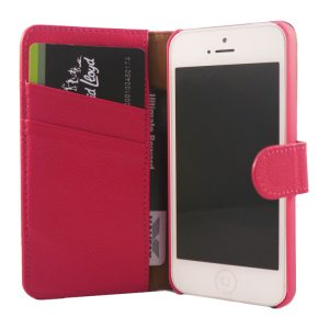 Flip Wallet Genuine Yak Leather Case Cover For iPhone  5/5s – Pink