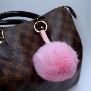Real Fur Ball Pompom Keyring Bag Charm with Leather Strap – Pink