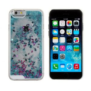 Falling Stars Liquid Glitter 3D Bling case cover for iPhone 6 – blue