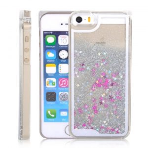 Falling Stars Liquid Glitter 3D Bling case cover for iPhone 5/5s – white