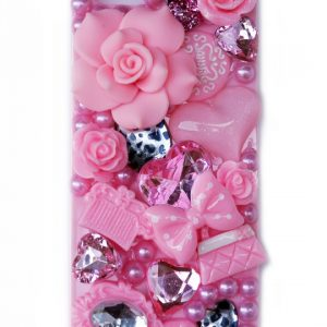 3D Crystal Pearl Rose Bling Case Cover for iPhone 6 – Pink