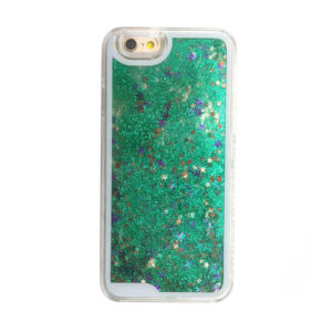 Falling Stars Liquid Glitter 3D Bling case cover for iPhone 5/5s – green