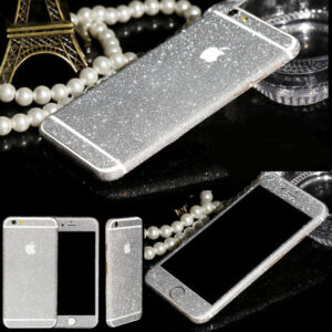 Glitter Bling Full Body Vinyl Decal Wrap Sticker Skin for iPhone  5, 5s, 6, 6s – Silver