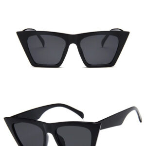BLACK OVERSIZED SQUARE EDGE STYLE CAT EYE SUNGLASSES 400 UV FREE CASE